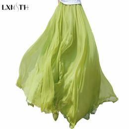 Wholesale Long Chiffon Expansion Skirt - 2017 Quality Summer Solid Long Chiffon Skirts for Women Bohemia 8 meters Expansion Maxi Beach Skirt Gold Chiffon 2 Layers Skirt