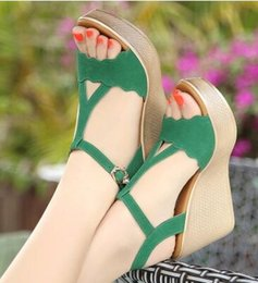 Wholesale Sexy Cloth Sales - New Arrival Hot Sale Knight Star Princess Noble Peep Toe Elegant Sexy Summer Suede T Style Platform Casual Large Size Wedge Sandals EU34-43