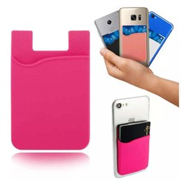 Wholesale Gadget Bags - Silicone Wallet Credit Card Cash Pocket Sticker Adhesive Holder Pouch Mobile Phone 3M Gadget Samsung iPhone Universal OPP BAG