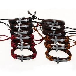 Wholesale Fashion Cross Bracelet - Jesus Cross Leather Bracelets Adjustable Handmade Wristband Bangle Cuffs for Women Men Fashion Jewelry Gift Drop Shipping