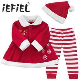 Wholesale Sets For Babys - Wholesale- Winter Newborn Infant Babys Girls Christmas Gift Dress Tops+Striped Pants+Hat Clothes Sets Outfits for Toddler kids SZ 9-24M