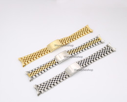Wholesale Cm Tags - 19mm 20mm New 316L Stainless Steel Gold Two tone Watch Band Strap Old Style Jubilee Bracelet Curved End Deployment Clasp Buckle