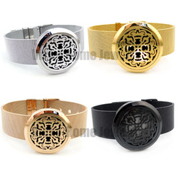 Wholesale Wholesale Locket Bracelet - Wholesale-Round Silver Old World Cross (30mm) with Stainless Steel Metal Mesh Band Aromatherapy   Essential Oils Diffuser Locket Bracelet