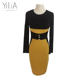 Wholesale wholesale work dresses for women - Wholesale- Bodycon Work Dresses 2016 for Women Yilia Midi Dress Long Sleeve Office Dress Slim Patchwork Yellow Black with Buttons Plus Size