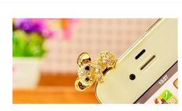 Wholesale Cute Anti Dust Plugs - Wholesale Cute Rhinestone Crystal Diamond Dust Proof Plug Anti Dust Plug For IPhone Cell Phone Mobile