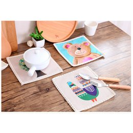 Wholesale Dishware Wholesale - Wholesale- 1Pc Hot Sale Placemat Cotton Drawing Table Mat Dishware coasters For Dinner Accessories Wine Cup mat A45