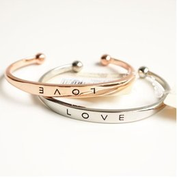 Wholesale Hand Bracelet For Women - Stainless Steel Engraved Positive Inspirational Quote Hand Stamped Cuff Mantra Love Bracelet Bangle for Women Y#213