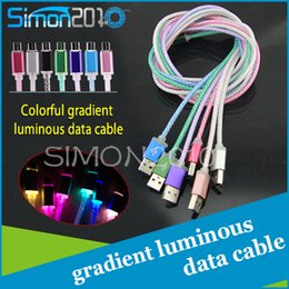 Wholesale Cords Shine - 2017 shining luminous Charging Cable colorful LED light cord light up glow wire for Samsung Galaxy LG HTC with micro usb port