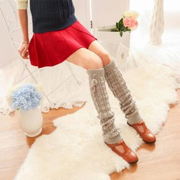 Wholesale Ladies Thigh High Boots Sale - Wholesale- Beautiful warm soft knee boots knitted socks Good Lady Winter Warm Soft Cable Knit Over Knee Boot Thigh-High Long Socks Hot Sale