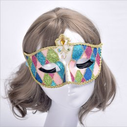 Wholesale Venice Hot - Hot sale new design mysterious Venice princess mask shining party half face masks for women available