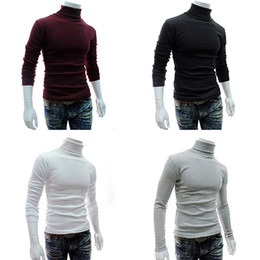 Wholesale Long Sweater Xs - Wholesale- Men's Fashion Knitted Roll Turtle Neck Pullover Long Sleeve Slim Fit Sweater Top