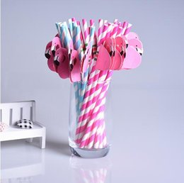 Wholesale Animal Cocktails - Flamingo Paper Straws Disposable Straw Cartoon Animal Stripe Paper Suckers for Drinking Cocktail Wine Disposable Sucker for Wedding Party