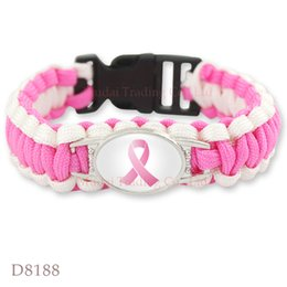 Wholesale Pink Breast Cancer Fighter Hope Ribbon Awareness Paracord Bracelets Blue Yellow Black Outdoor Camping
