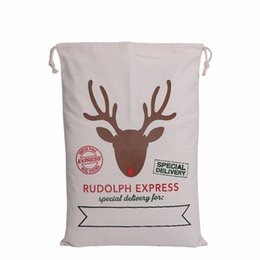 Wholesale Large Santa Sacks Wholesale - hot sale Christmas Large Canvas Monogrammable Santa Claus Drawstring Bag With Reindeers, Monogramable Christmas Gifts Sack Bags new wn075