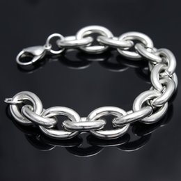 Haute qualité ton argent 316L en acier inoxydable Fashion HEAVY énorme 15 mm ovale lien chaîne bracelet bijoux hommes bracelet 8 '' - 9,5 pouces ? partir de fabricateur