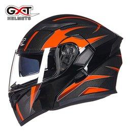 Moto casco flip up online-Vendita calda GXT 902 Flip Up Casco moto modulare Casco moto modulare con visiera parasole interna Doppia lente da corsa Caschi integrali