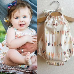 Wholesale Colorful Girl Clothes - Cute Baby Colorful Arrows Pattern Children One Pieces Little Baby Clothes Babys Clothing 2017 Hot Selling High Quality 0-24M