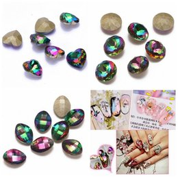 Wholesale Glass Rhinestone Nail - Nail Rhinestones 5pcs New Rainbow Color Glass Rhinestone For Nail Art Decorations Pointback Nail Stickers DIY Craft Art Stones