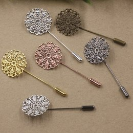 Wholesale Metal Lapel Badges - 50MM 25mm Silver Rose gold Antique bronze metal filigree flower lapel pin for men suits, fashion floral badge long brooch stick pin jewelry