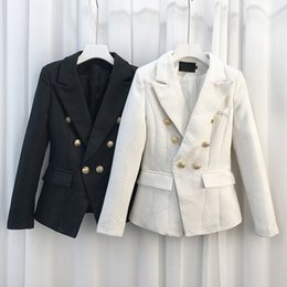 Wholesale Workwear Long Sleeve - HIGH QUALITY Workwear Design Notched Collar Elegant Gold Buttons Bodycon Jaqueta Feminina Women Blazer Black White Outerwear