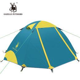 pali di tenda Sconti All'ingrosso- 2-3 persone tenda da campeggio esterna a doppio strato Escursionismo Escursionismo Viaggio Gioco Tenda da pesce Palo in alluminio Palo antivento Pioli Attrezzatura da campeggio
