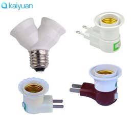 Wholesale Power Plug Types - E27 to Double e27 Male Sochet light Base type to AC Power 110V 220V US EU Plug lamp Holder Bulb Adapter Converter + ON OFF Button Switch