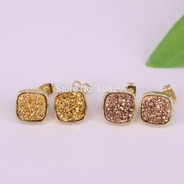 Wholesale Green Square Earrings - Charm 5Pairs Square Natural Titanium Druzy Stud Earrings, Gold color Gems Stone Post Earring