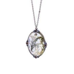 Wholesale Chain Link Images - Gothic Silver Color Long Chain Women Jewelry Necklace Antique Silver-color Pattern Transparent Image Pendant Oval Necklace