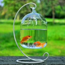 Wholesale Flower Bowl Vases Wholesale - Clear Hanging Glass Aquarium Bowl with Rack Fish Tank Flower Plant Vase Home Decor