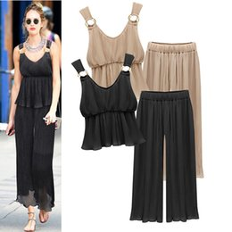 Wholesale V Ring Size - Two Pieces Woman Suits Wear Runway Clothing Pally Ring Pleated Loose Pants Chiffon Bottom Plus Size Pant Suits