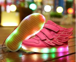 Wholesale Shoes For Teenagers - 2017 Children Shoes For Kids Light Up Shoes Boys Mesh Breathable Sport Led Sneakers Teenager Girls Running Shoes School Trainers