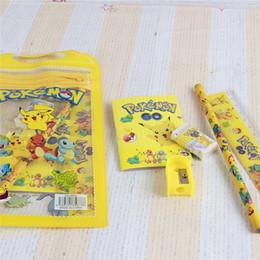 Wholesale Eraser Pen - poke go Pikachu pencil case bags pocket monster pen bag pocket stationery storage bags pencil rular eraser pencil sharpener WD379