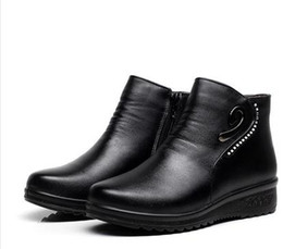 Wholesale Age B - Winter new mother Fashion cotton shoes middle-aged cashmere warm snow boots large size pregnant women flat cotton boots