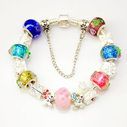 Wholesale Colorful Beads Fit Pandora - Valentine's Day gifts Colorful Glass Beads Bracelet silver 925 Plated Charms Fits Pandora European murano Style Jewelry Bracelets