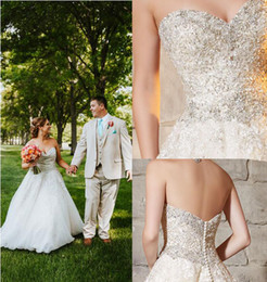 Wholesale Intricate Beading - 2017 Bridal Crystal and Diamante Beading Decorates the Intricate Embroidery on Tulle Wedding Dress Sweetheart Ball Gown