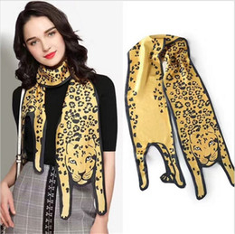 Wholesale Designer Silk Leopard Scarves - New Fashion Silk Scarves Designer 3D Animals Shape Leopard Scarf For Women Bags Twilly Scarf 170cm