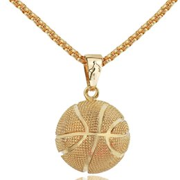 Wholesale Men Basketball Necklace - Gold 3D Basketball Football Volleybal Pendant Necklace Sports Bodybuilding Fitness Stainless Steel Chain Men Statement Necklace