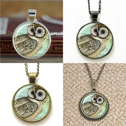 Wholesale Necklace Owls - 10pcs Owl Jewelry Woodland Pendant glass Necklace keyring bookmark cufflink earring bracelet