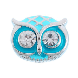 Wholesale 14mm Buttons - Cartoon 14mm Lovely Noosa Snaps Buttons Blue Inlaid White Diamond Owl Shape DIY Metal Button Snap Charm Buttons Accessory N47S