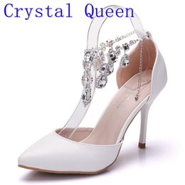 Wholesale Rubber Feet Adhesive - Crystal Queen Fashion Custom Heels 9cm Rhinestones Foot Ring Women Wedding Shoes Thin Heels Bling Party Pumps Lady Dress Shoes