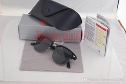Wholesale Designer R - Excellent Quality 10pcs Fashion Designer Sunglasses Semi Rimless Sun Glasses For Mens Womens Gold Frame Green 51mm Glass Lenses With Cases R