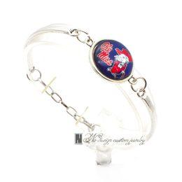 Wholesale Miss Love Hearts - 2017 New Fashion Bracelet&Bangle Ole miss NACC University Team Sport Charms Bracelet for Women Fan Jewelry SP039
