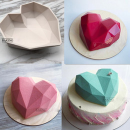 Wholesale Silicone Cake Mould Heart - Diamond Heart Shape Food Grade Silicone Baking Mould Cooking mould To Make Cake Chocolate Mousse Pudding Jelly Ice Cream, Size 7 IN