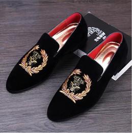 Wholesale Korean Wedding Fashion Design - folk-custom men Korean fashion wedding party soft leather velvet shoes slip-on driving shoe design smoking slippers male loafers Sneakers