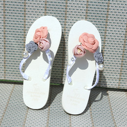Wholesale Decorative Sandals - Decorative Summer Sandals Casual Wedding Shoes Bridal Accessories Outdoor Beach Beaded Pearl Flower Platform Flipflops for Wedding Party