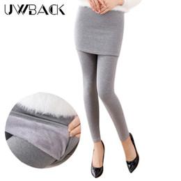Wholesale Ankle Length Skirted Leggings - Wholesale- Uwback 2017 Winter Thick Velvet Leggings Women Plus Size 3XL Fake Two Piece Skinny Hip Skirt Leggings Trousers Slim Women CBB303
