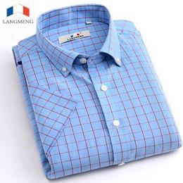 Wholesale Yellow Dress Strip - Wholesale- Langmeng 2016 New Summer Cotton Casual Men Thin Strip Dress Shirt Men Short Sleeve plaid casual Shirts Male Camisa Musculia