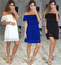 Wholesale Red Strapless Bodycon Dress - For Love and Lemons sexy Off the Shoulder strapless dresses Women long sleeve Embroidery Lace dress White Red Club Party Dresses