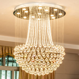 Wholesale Vintage Pendent Lights - New design LED crystal ceiling chandeliers crystal rain drop modern round chandelier lighting pendent lamps for duplex stairs villa hotel