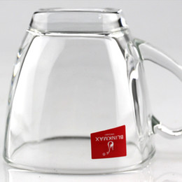 Wholesale Glass Gift Items - Glass Coffee Cup Handle Transparent High White Glass Party Celebration Festival Household Items Bouble Wall Glass190ML 185g